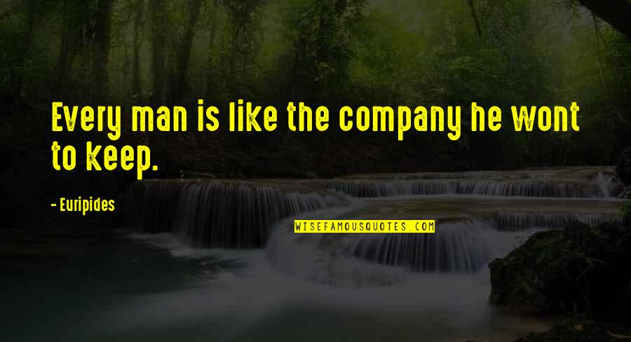 Wont't Quotes By Euripides: Every man is like the company he wont