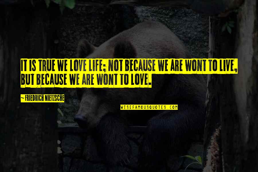 Wont't Quotes By Friedrich Nietzsche: It is true we love life; not because