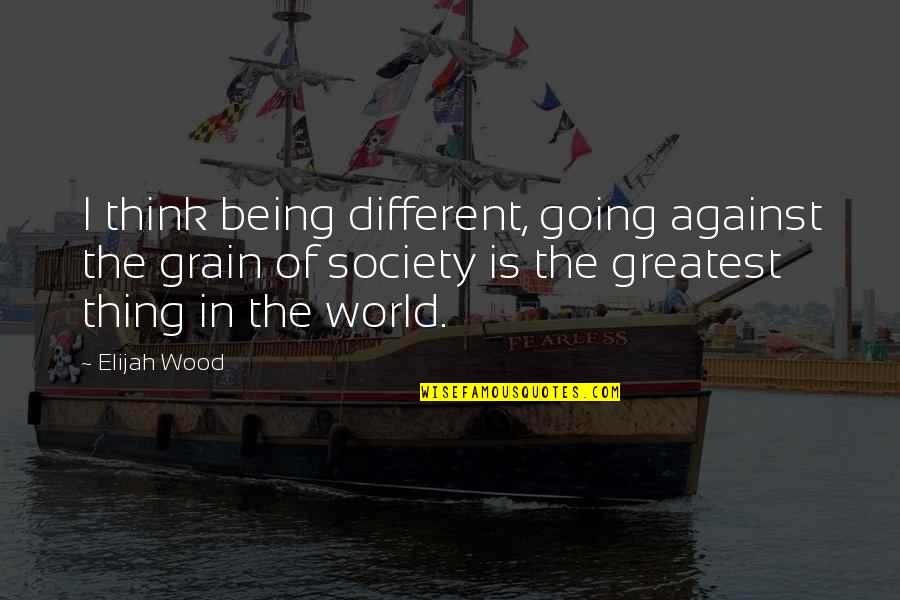Wood Grain Quotes By Elijah Wood: I think being different, going against the grain