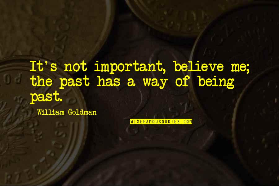 Woodland Shoes Quotes By William Goldman: It's not important, believe me; the past has