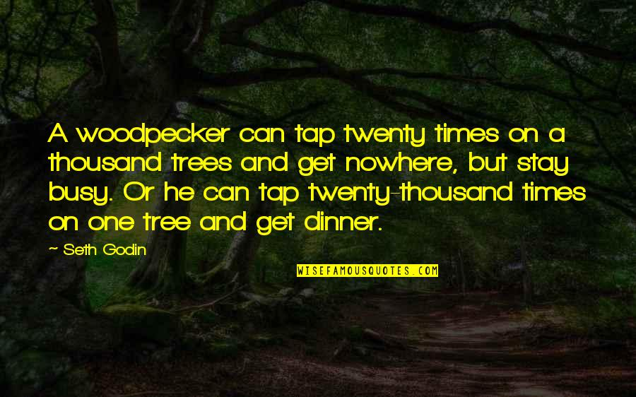 Woodpecker Quotes By Seth Godin: A woodpecker can tap twenty times on a