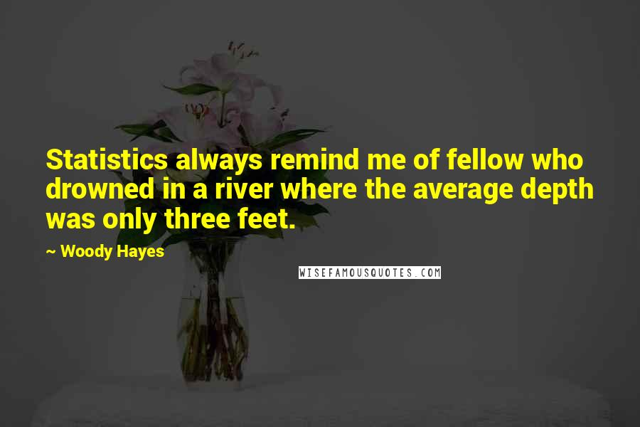 Woody Hayes quotes: Statistics always remind me of fellow who drowned in a river where the average depth was only three feet.