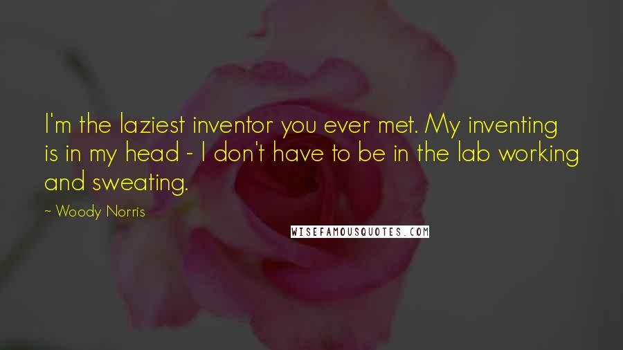 Woody Norris quotes: I'm the laziest inventor you ever met. My inventing is in my head - I don't have to be in the lab working and sweating.