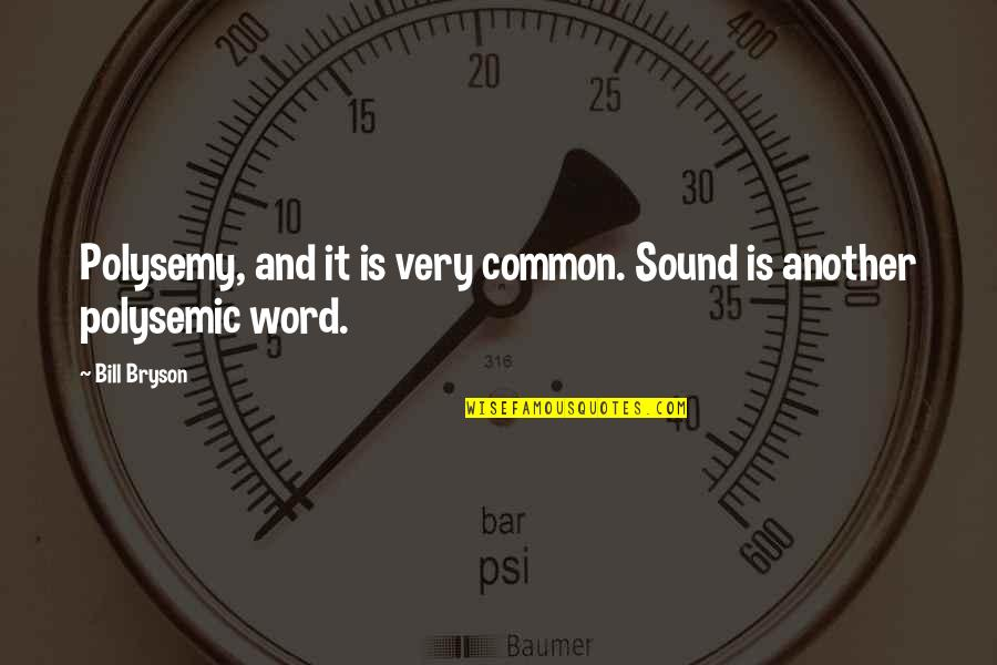 Word For Common Quotes By Bill Bryson: Polysemy, and it is very common. Sound is