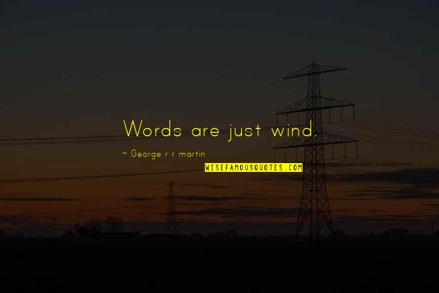 Words Are Just Quotes By George R R Martin: Words are just wind.