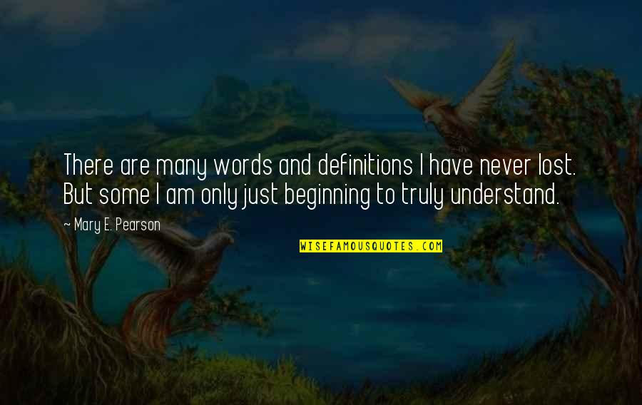 Words Are Just Quotes By Mary E. Pearson: There are many words and definitions I have