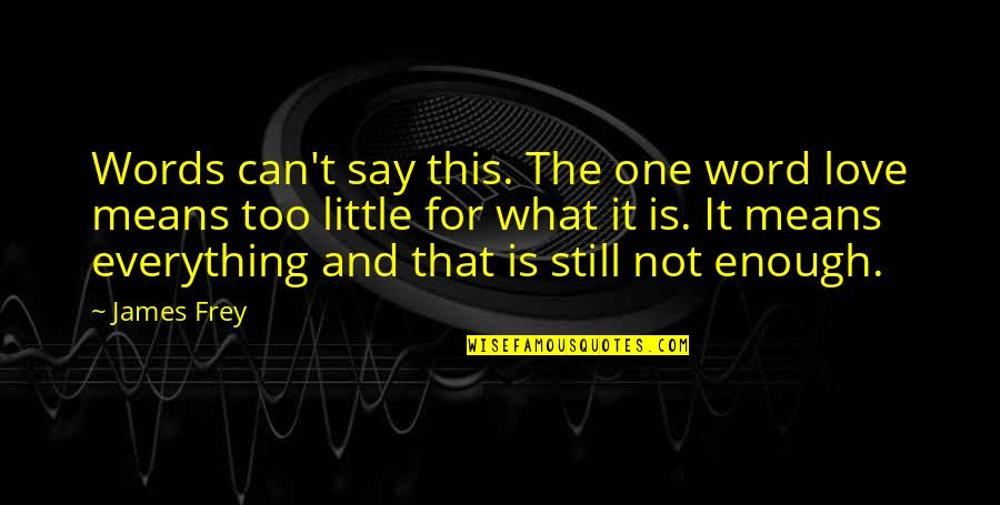 Words For Love Quotes By James Frey: Words can't say this. The one word love