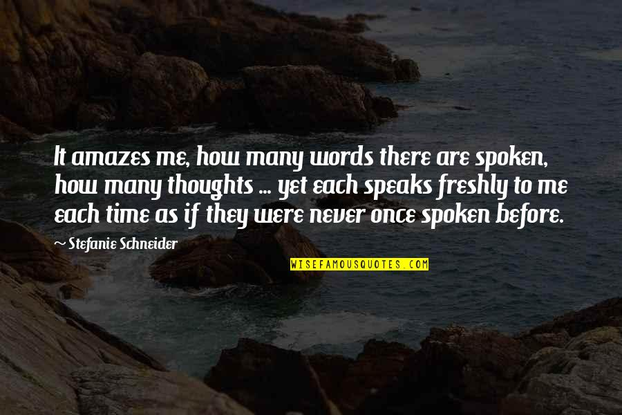 Words Not Spoken Quotes By Stefanie Schneider: It amazes me, how many words there are