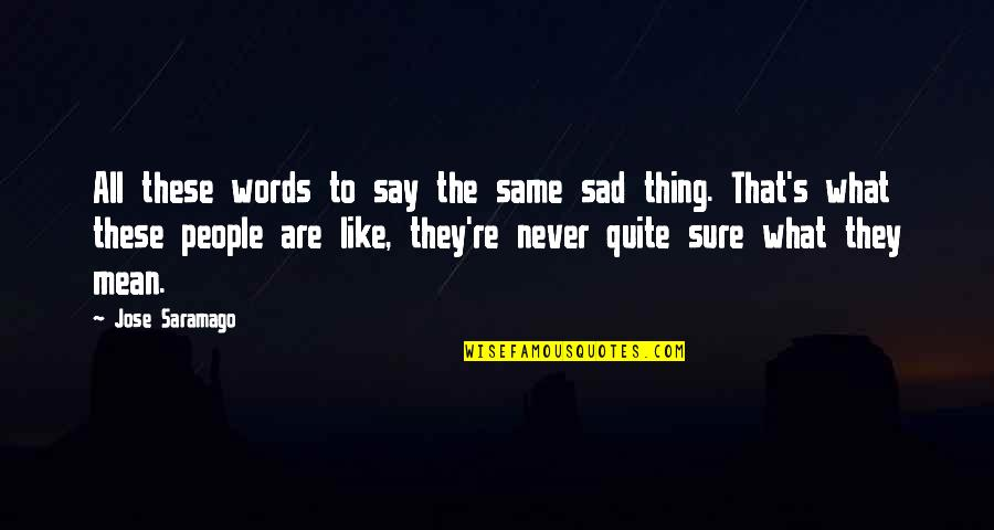 Words That Mean Quotes By Jose Saramago: All these words to say the same sad