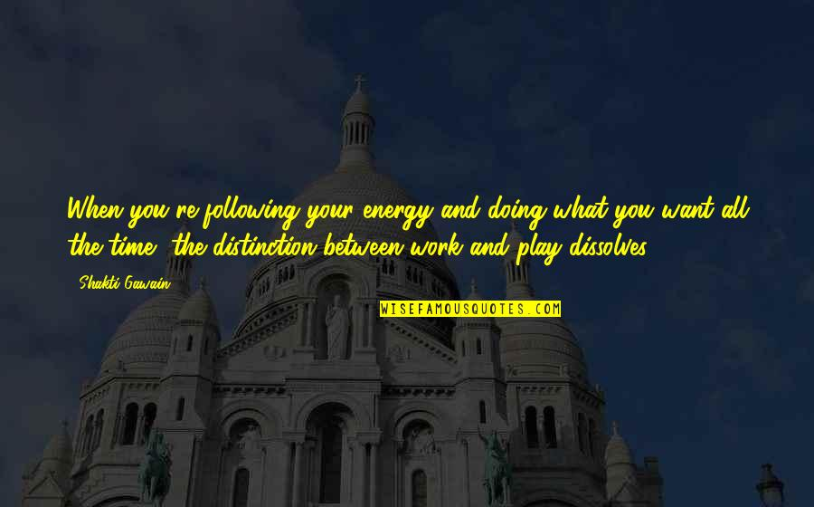 Work And Play Quotes By Shakti Gawain: When you're following your energy and doing what