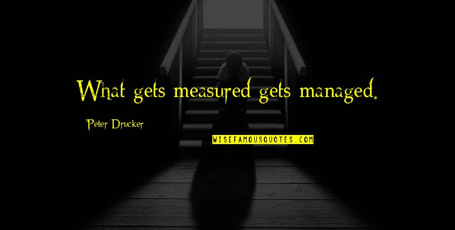 Work Week Motivational Quotes By Peter Drucker: What gets measured gets managed.