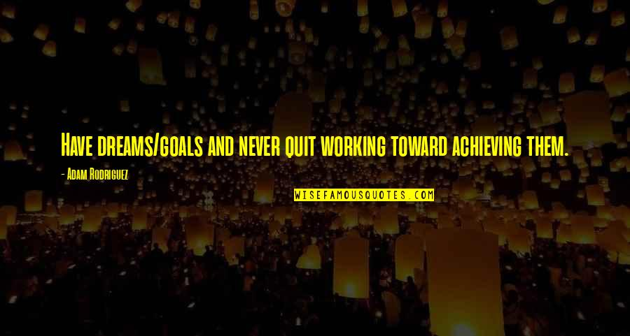 Working For Your Goals Quotes By Adam Rodriguez: Have dreams/goals and never quit working toward achieving