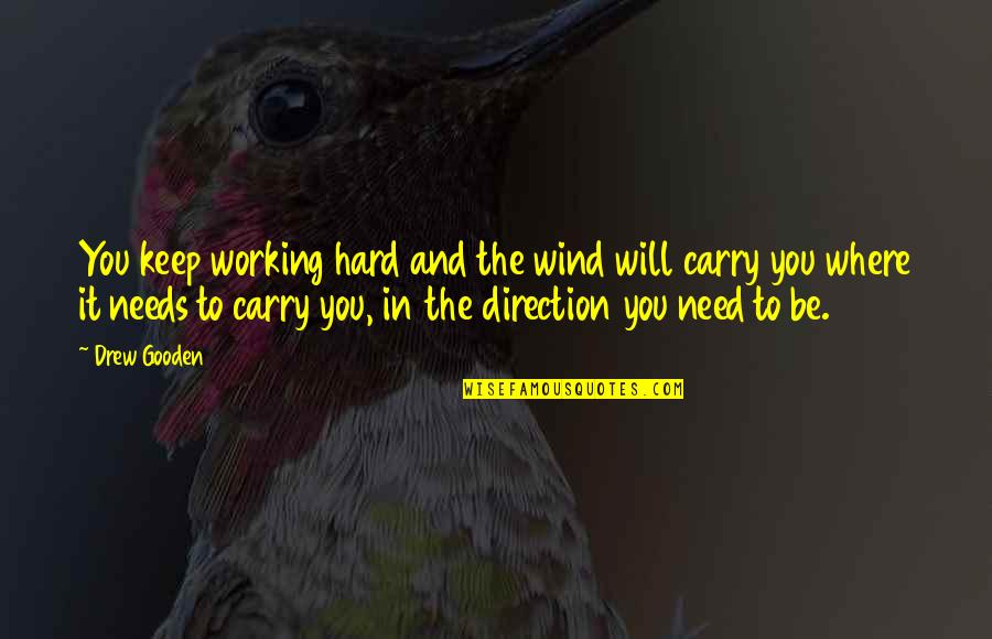 Working Hard Quotes By Drew Gooden: You keep working hard and the wind will