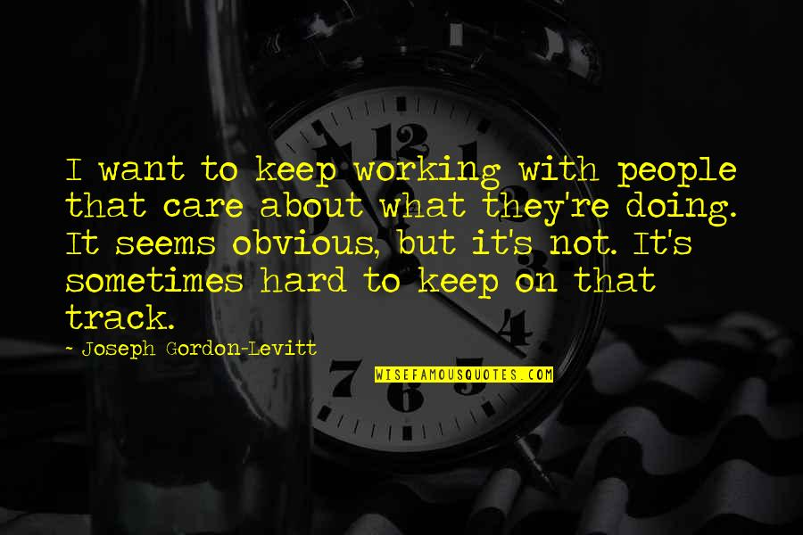 Working Hard Quotes By Joseph Gordon-Levitt: I want to keep working with people that