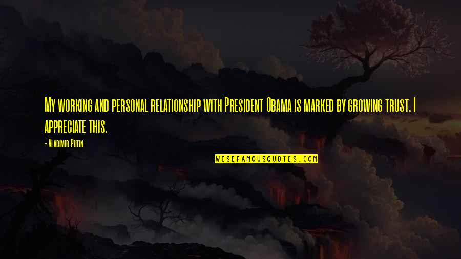 Working On A Relationship Quotes By Vladimir Putin: My working and personal relationship with President Obama