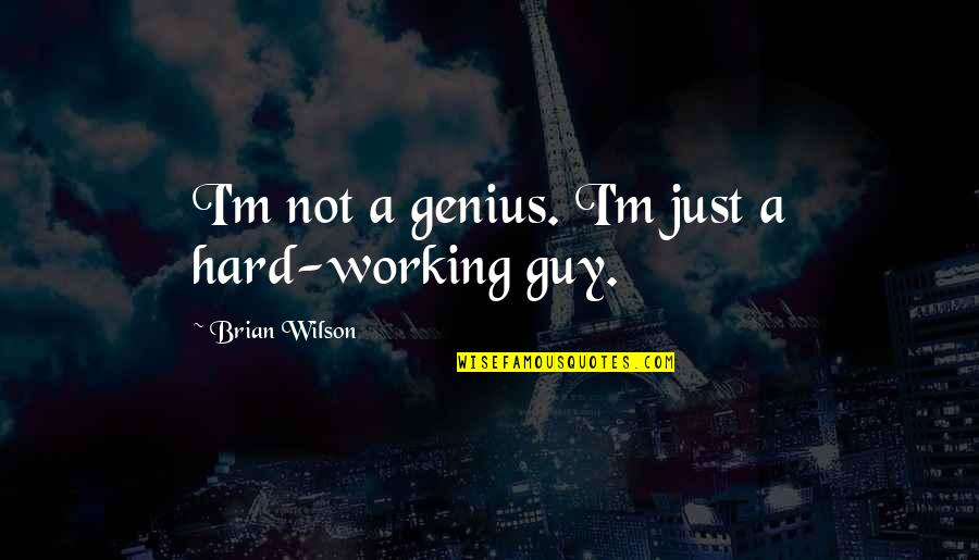 Working Too Hard Quotes By Brian Wilson: I'm not a genius. I'm just a hard-working