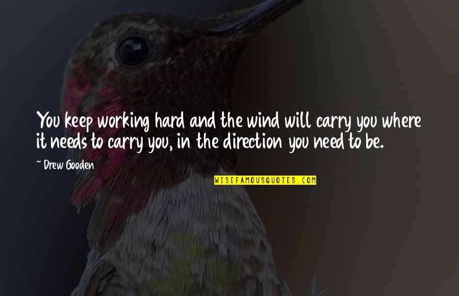 Working Too Hard Quotes By Drew Gooden: You keep working hard and the wind will