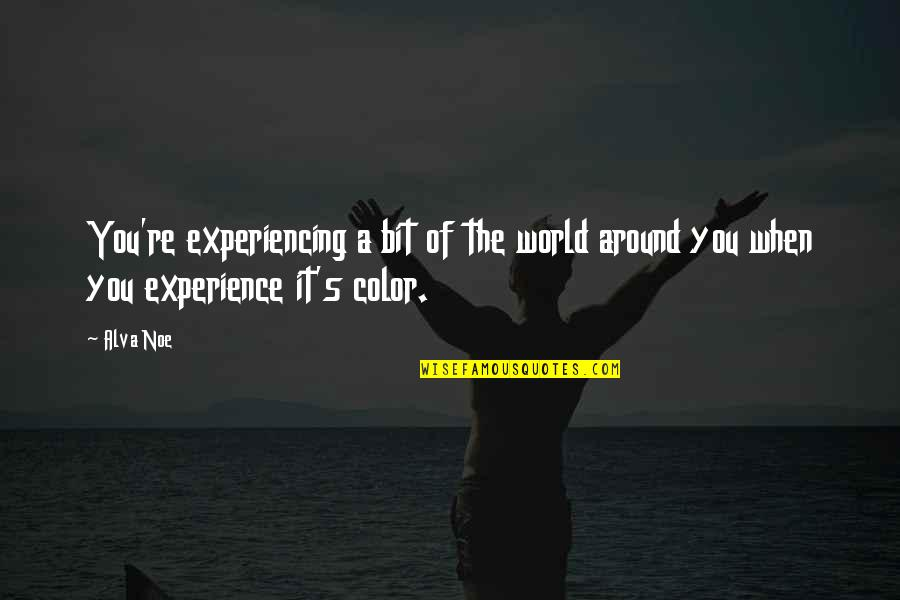 World Around You Quotes By Alva Noe: You're experiencing a bit of the world around