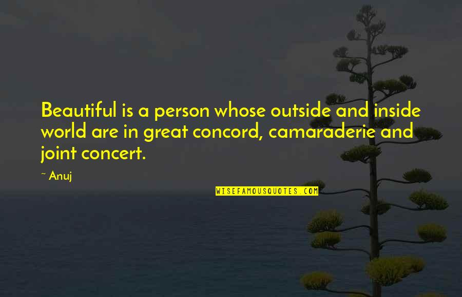 World Best Beautiful Quotes By Anuj: Beautiful is a person whose outside and inside