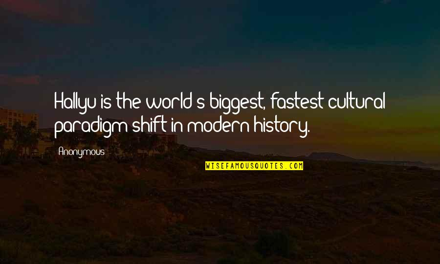 World Biggest Quotes By Anonymous: Hallyu is the world's biggest, fastest cultural paradigm