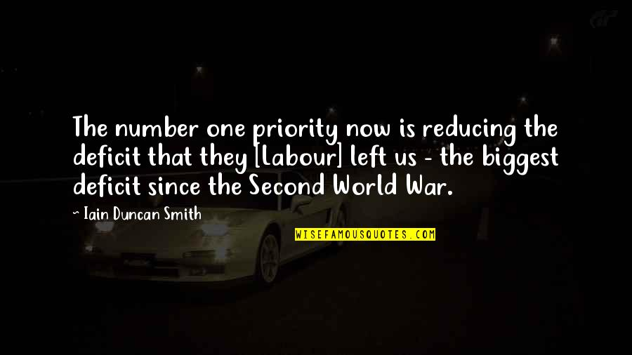 World Biggest Quotes By Iain Duncan Smith: The number one priority now is reducing the