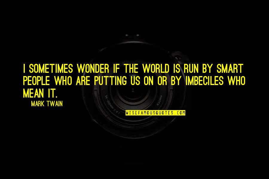 World Is Mean Quotes By Mark Twain: I sometimes wonder if the world is run