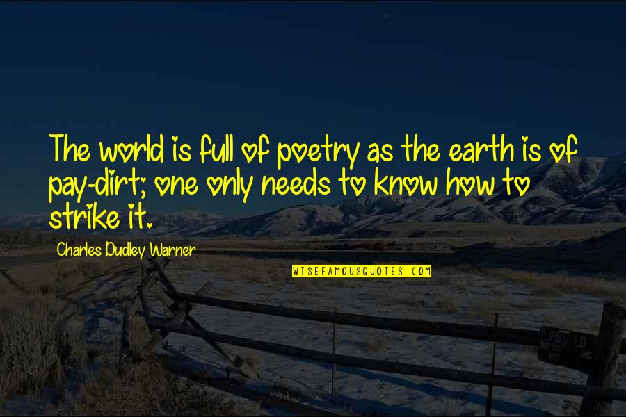 World Is Quotes By Charles Dudley Warner: The world is full of poetry as the
