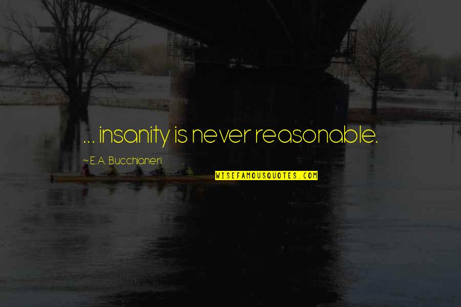 World Is Quotes By E.A. Bucchianeri: ... insanity is never reasonable.