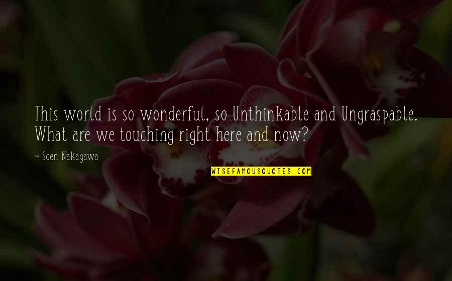 World Is Wonderful Quotes By Soen Nakagawa: This world is so wonderful, so Unthinkable and