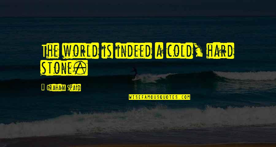 World So Cold Quotes By Graham Spaid: The world is indeed a cold, hard stone.