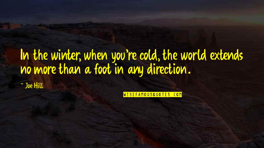 World So Cold Quotes By Joe Hill: In the winter, when you're cold, the world