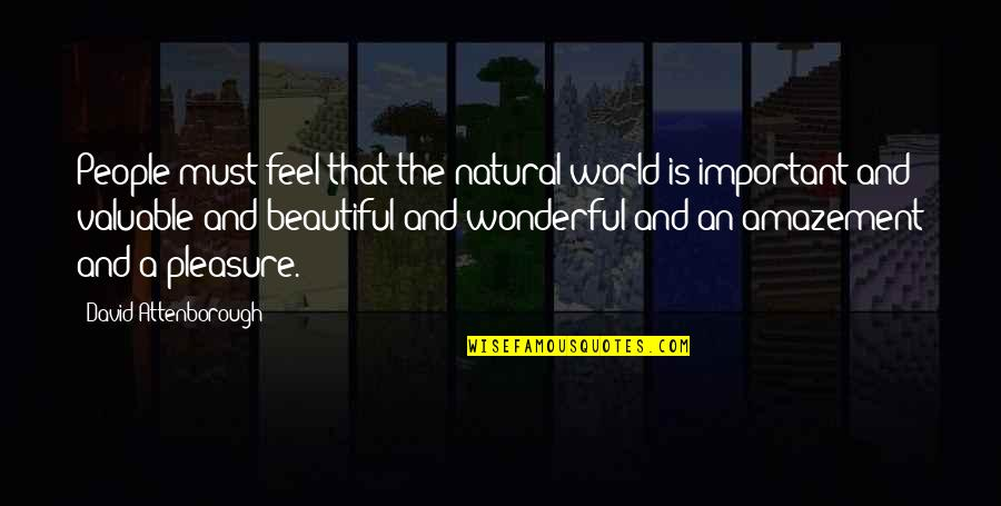 World's Most Wonderful Quotes By David Attenborough: People must feel that the natural world is