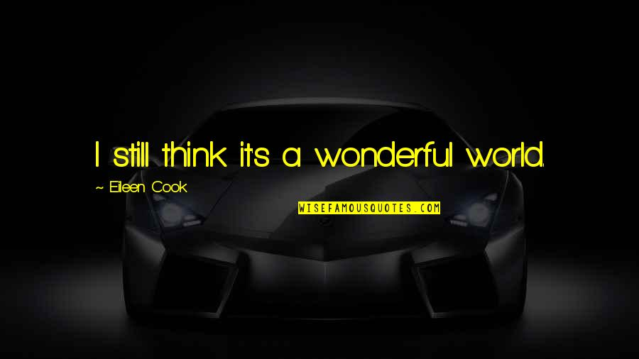 World's Most Wonderful Quotes By Eileen Cook: I still think it's a wonderful world.