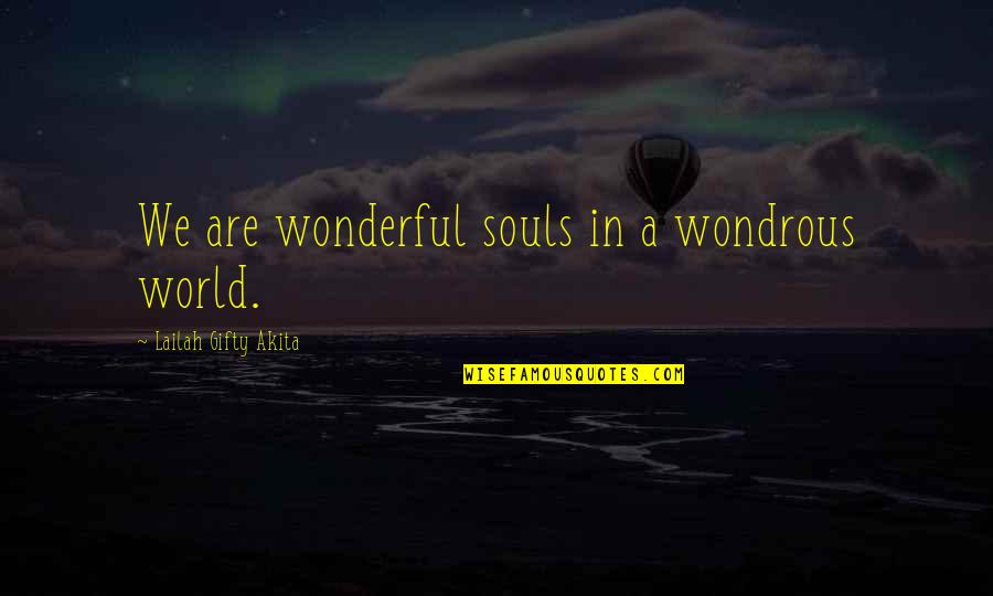 World's Most Wonderful Quotes By Lailah Gifty Akita: We are wonderful souls in a wondrous world.