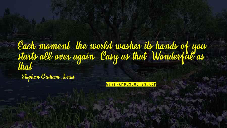 World's Most Wonderful Quotes By Stephen Graham Jones: Each moment, the world washes its hands of