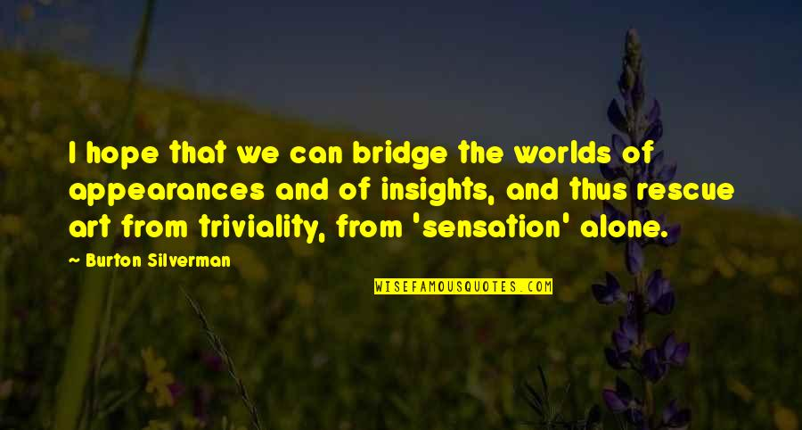 Worlds Quotes By Burton Silverman: I hope that we can bridge the worlds