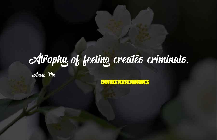 Worry When I Stop Arguing Quotes By Anais Nin: Atrophy of feeling creates criminals.