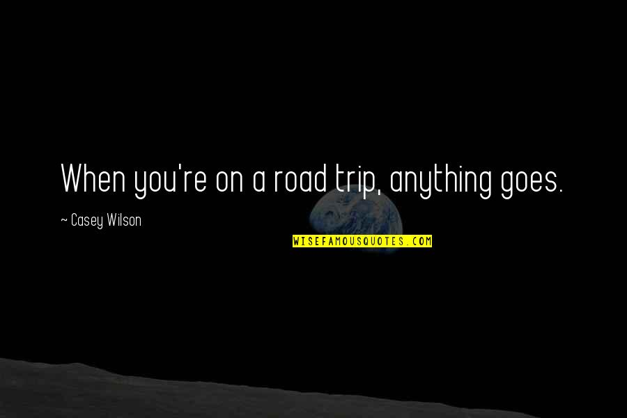 Worry When I Stop Arguing Quotes By Casey Wilson: When you're on a road trip, anything goes.