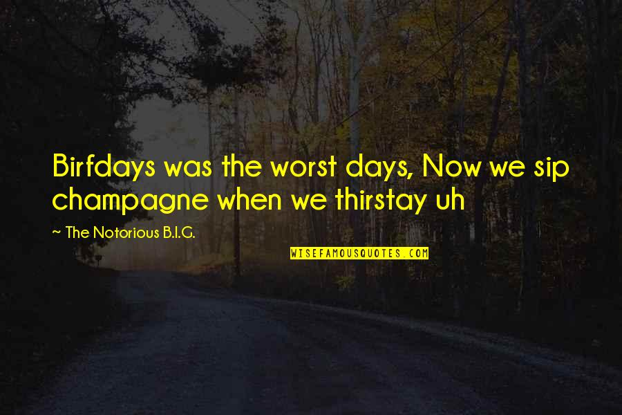 Worst Days Quotes By The Notorious B.I.G.: Birfdays was the worst days, Now we sip
