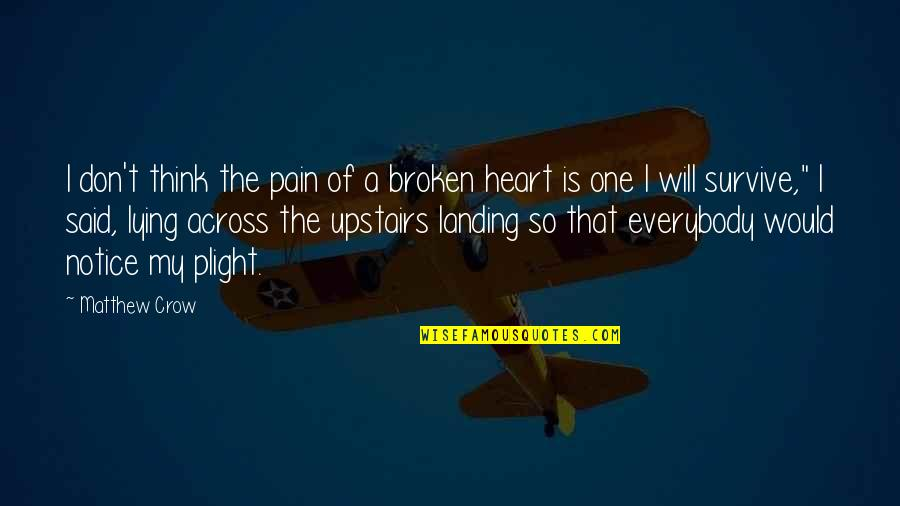 Would You Notice Quotes By Matthew Crow: I don't think the pain of a broken