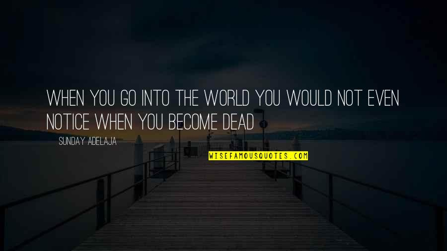 Would You Notice Quotes By Sunday Adelaja: When you go into the world you would