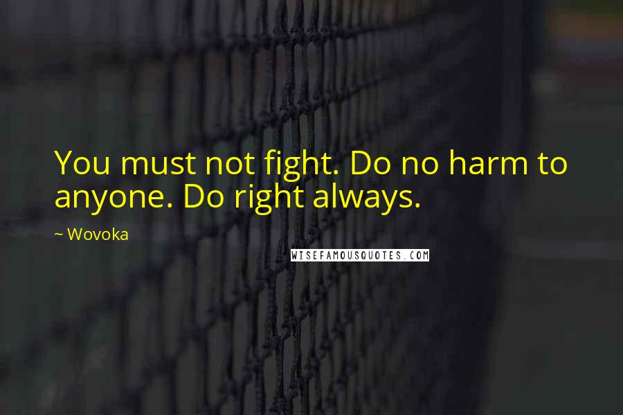 Wovoka quotes: You must not fight. Do no harm to anyone. Do right always.