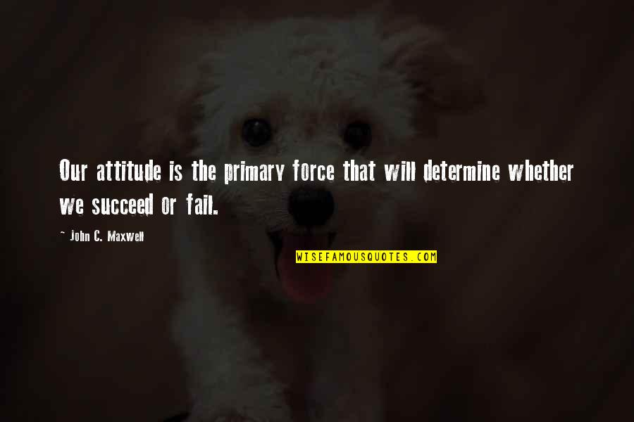 Wrestling Quotes By John C. Maxwell: Our attitude is the primary force that will