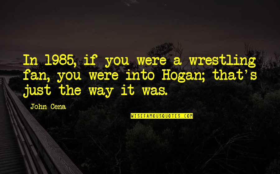 Wrestling Quotes By John Cena: In 1985, if you were a wrestling fan,