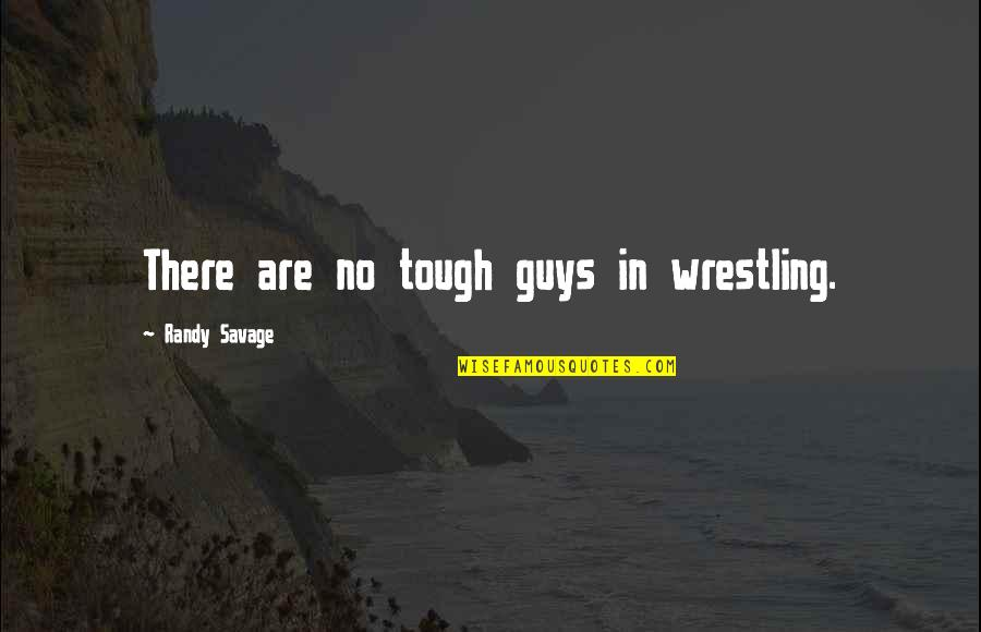 Wrestling Quotes By Randy Savage: There are no tough guys in wrestling.