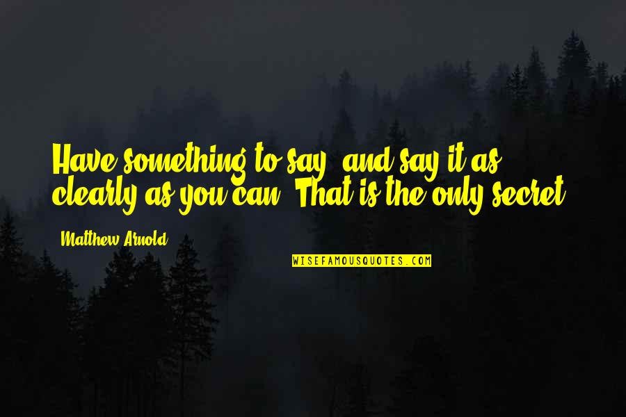 Writers And Writing Quotes By Matthew Arnold: Have something to say, and say it as