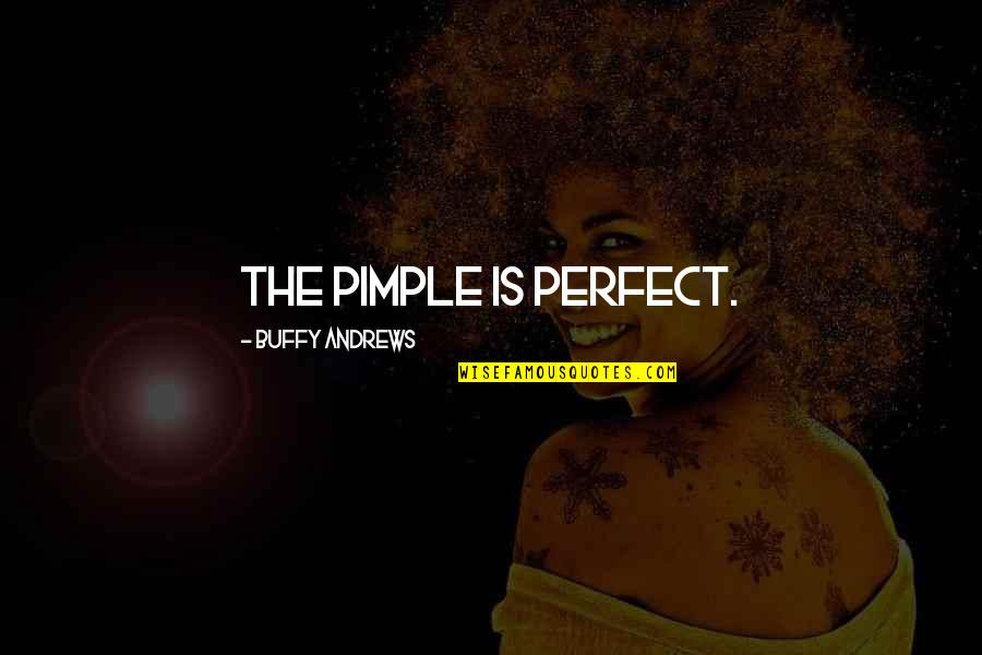 Writers Funny Quotes By Buffy Andrews: The pimple is perfect.