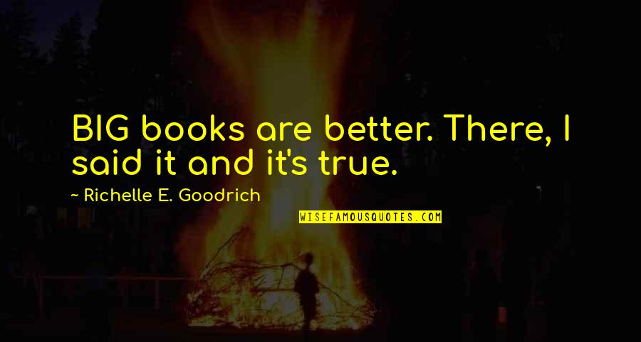Writing And Reading Quotes By Richelle E. Goodrich: BIG books are better. There, I said it