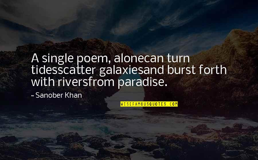 Writing And Reading Quotes By Sanober Khan: A single poem, alonecan turn tidesscatter galaxiesand burst