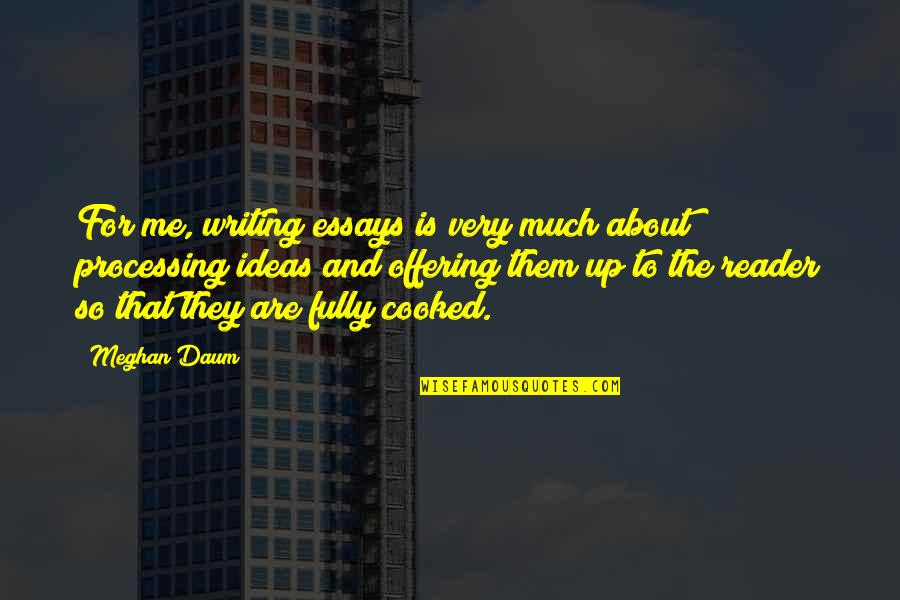 Writing Essays On Quotes By Meghan Daum: For me, writing essays is very much about